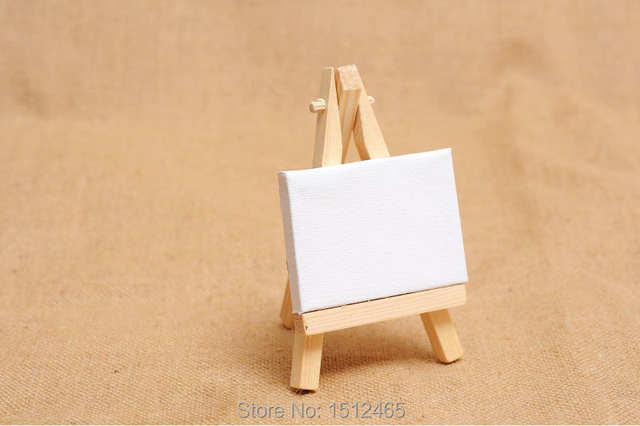 Placeholder 10 Sets Mini Display Easel With Canvas 7 5cm Wedding Table Numbers Painting Hobby Wooden
