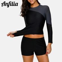 Anfilia Women Long Sleeve Rashguard Shirt Surfing Top Swimwear Rash Guard UPF 50+ Diving Biking Shirts