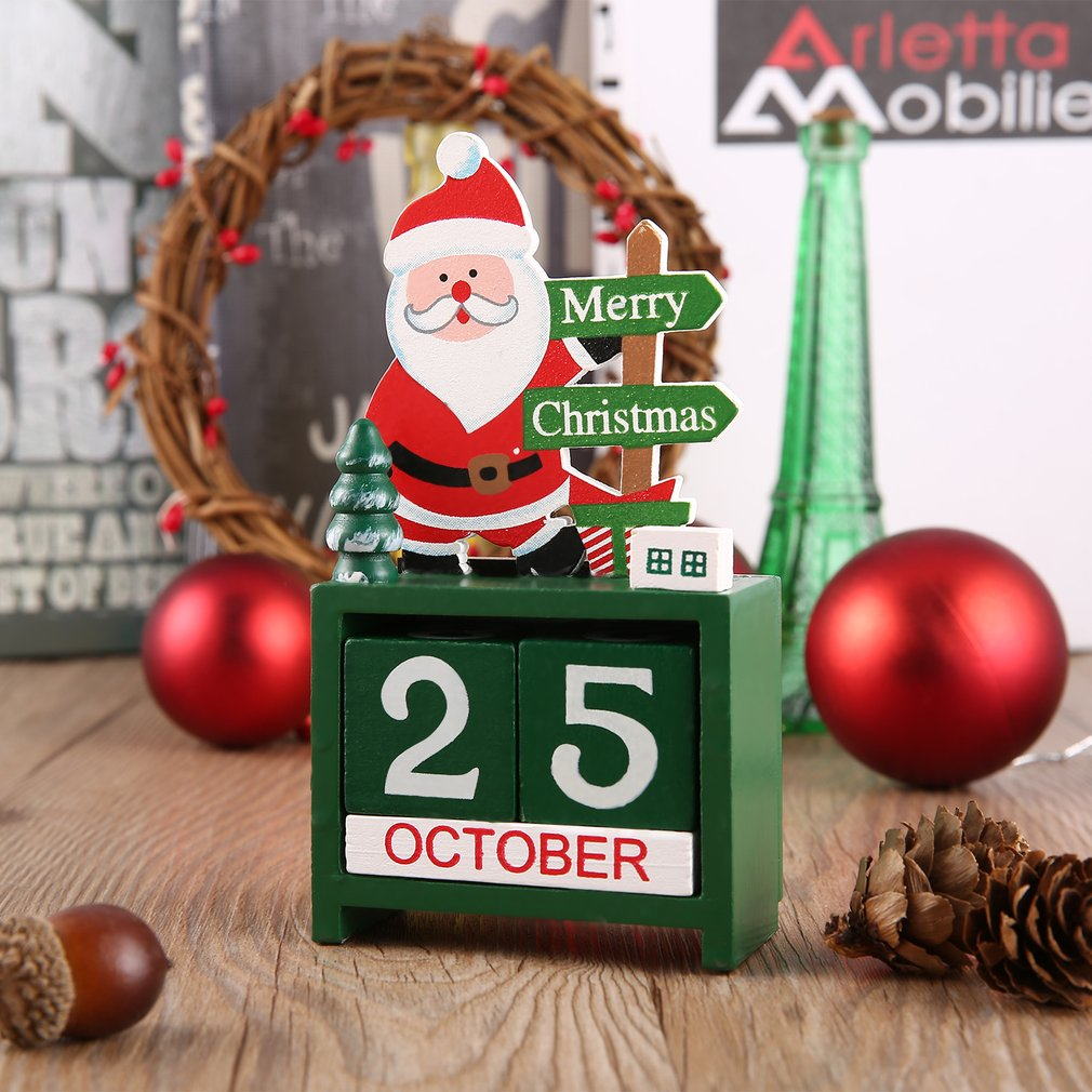 Small Size Lovely Cute Christmas Wooden Calendar Home Office Desktop ...