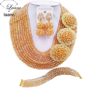 Brand Laanc Gold AB Crystal Beads African Jewelry Set Necklace and Earrings Bridal Wedding Jewelry Sets 10R3H007