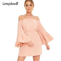 Loneyshow Design Ruffles Party Dress 2017 Fashion Flare Long Sleeve Empire Pink Summer Dresses Elegant A