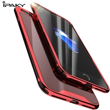 IPAKY Luxury Plating Frame Case For iphone 7 8 plus TPU+PC Full Cover Transparent Back iphone7 Coque fundas