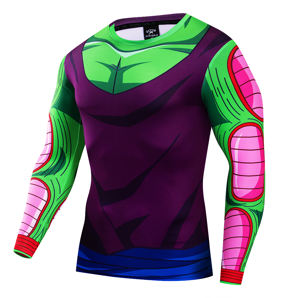 Anime Dragon Ball Z Vegeta Super Saiyan Goku Piccolo 3D T Shirt Men Costume Fitness Tee T-Shirt Long Sleeve Jersey Corselet