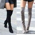 Zapatos de la nieve del invierno de las mujeres de Alta del muslo Botas de Imitación de Gamuza Mujeres del Estiramiento Delgado de Moda Sexy Sobre la Rodilla Botas Altas tacones