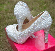 Spring Autumn White Wedding Dress Shoes Fashion Lady Party Prom Shoes Gorgeous Imitation Pearl Rhinestone Bridal
