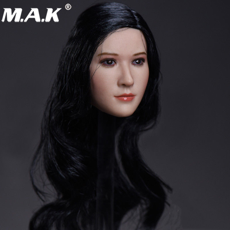 1:6 Scale Beauty Female Black Long Curly Hair Head Sculpt for 12 inches Action Figure Body 1 6 scale asian female head sculpt with black long hair models toys for 12 female action figure