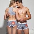 La Calidad Libre del envío Amantes Pareja Ropa Interior de Algodón Para Hombre Boxer Shorts ropa interior de la Historieta Bragas Cuecas calzoncillos Calzoncillos