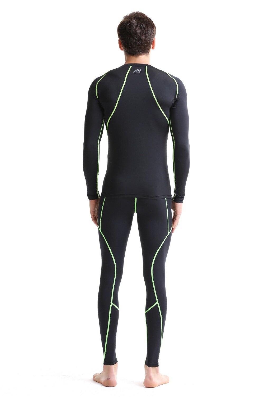 Leben auf der spur Compression Baselayer T shirt Männer Lange/Kurzarm Fitness Set Gymnastik Laufhose/Leggings Plus Größe - 3