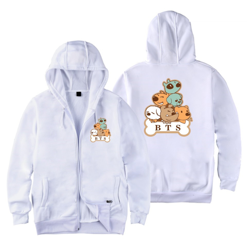 kpop BTS same Cartoon Dog Print fashion zippe women hoodies Korea men and women Spring autumn Casual zipper hooded sweatshirts