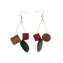 Simple and exaggerated Christmas red green contrast color wooden earrings geometric cylindrical square irregular