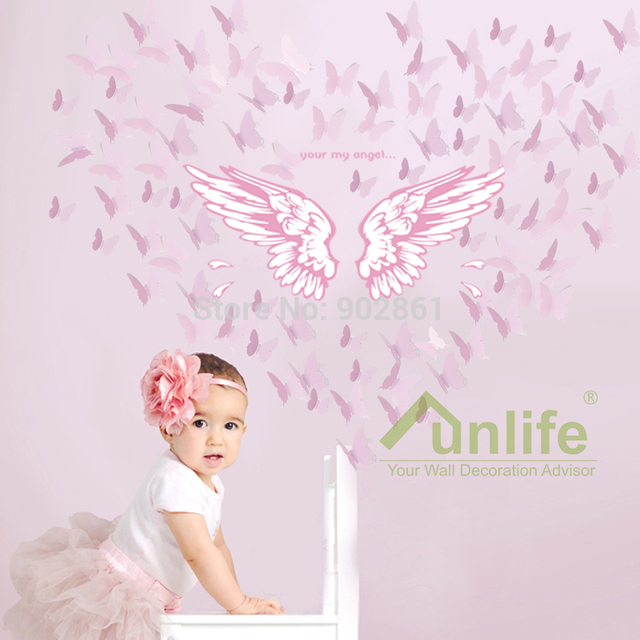 FUNLIFE Exclusive Combo My Angel Wings Pink 3D Butterflies Wall Art ...