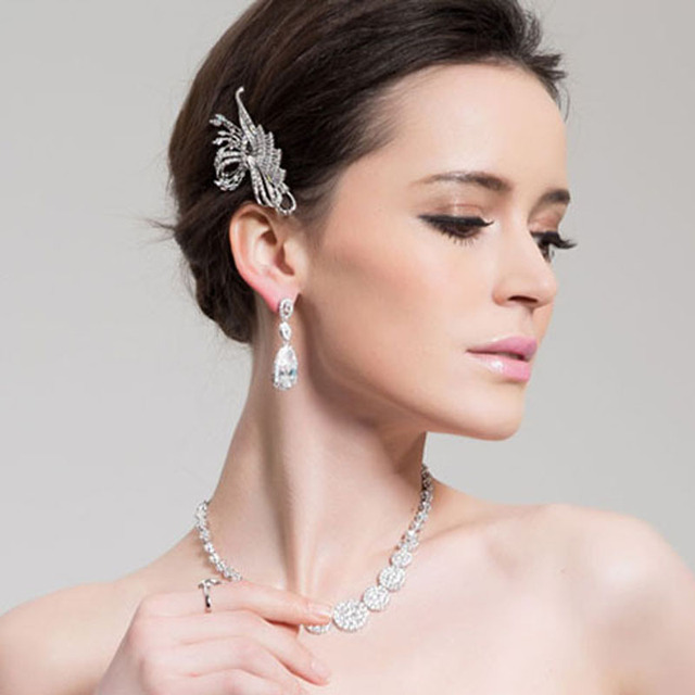LUOTEEMI Luxury Dangles Long Earrings for Women Wedding Earrings Water Drop Zircon Party Gift White Color Wholesale
