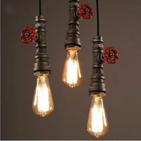 2015 Novelty Light Cool Industrial Plumbing Faucet Pipes Bulb Luminous Pendant Light Home Cafe Bar Office