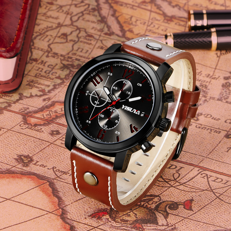 Heren Horloges Luxe Merk Lederen Mannelijke Klok YISUYA Militaire - Herenhorloges - Foto 3