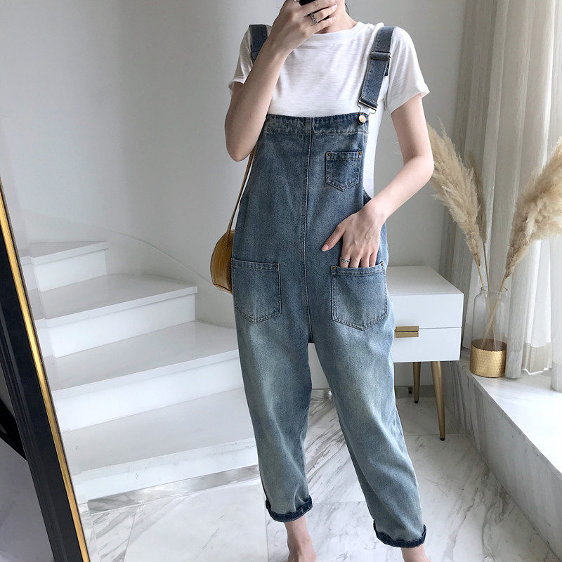 Spring Summer Casual Suspenders Jeans Woman Korean Loose Pocket Overalls Women Jeans College Style Tousers Ankle-Length Pants
