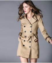 High quality England style double breasted windbreak coat Fashion slim women's spring/autumn belted Trench coat flounce trim belted coat