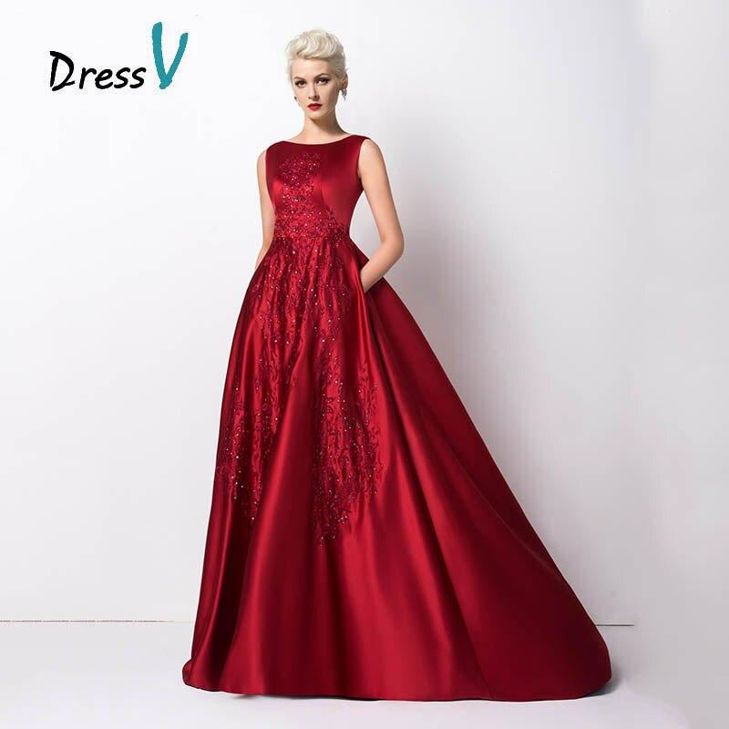 Dressv Elegant Long Burgundy Evening Dresses With Pocket 2017 Superb Satin Boat Backless Beaded Embroidered Prom Dresses Formal