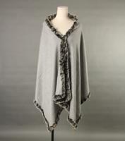 cape with fur trim 100% pure cashmere natural rex rabbit fur Gray black Orange scarf shawl S19