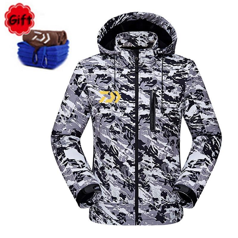 Waterproof Daiwa Fishing Clothing Coat Autumn Winter Warm Fishing Clothes Long Sleeve Camouflage Fishing Jacket Windbreaker