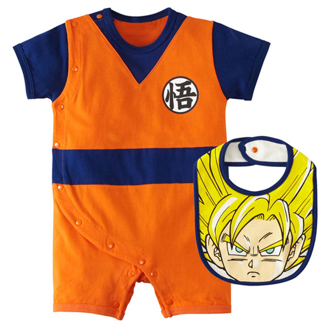 Cartoon Baby Clothes Sets Boys Goku Rompers Newborn Baby Dragon Ball Martial Jumpsuit+Bibs 2pcs/set Cotton Kung Fu Costumes
