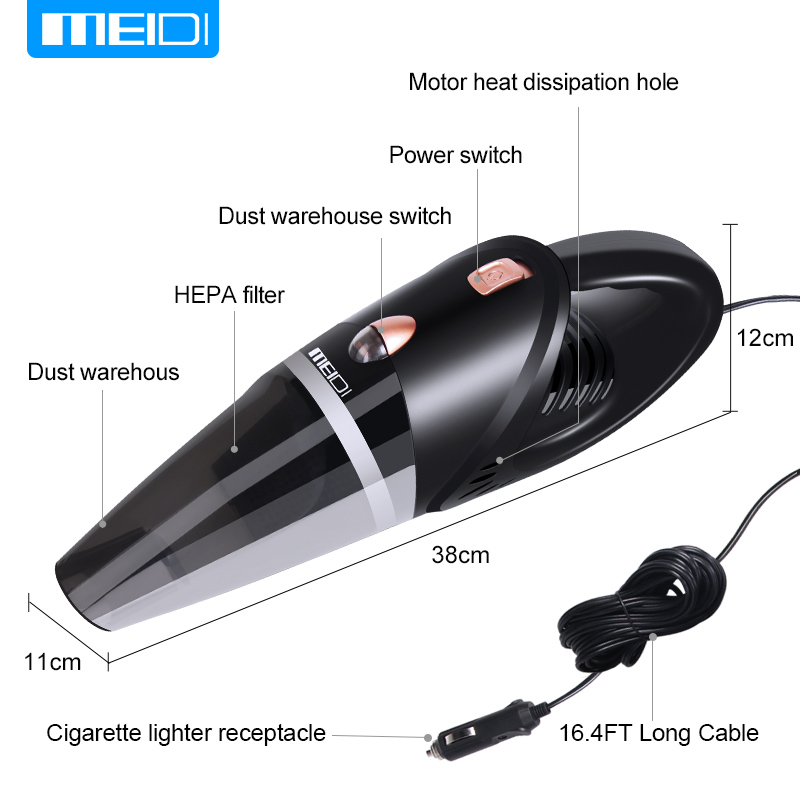 MEIDI Car Vacuum 12V 106W Wet&Dry Dual Use Car Vacuum Cleaner Portable Car Handheld Vacuum Cleaner 16.4 FT(5M) Power Cord Length