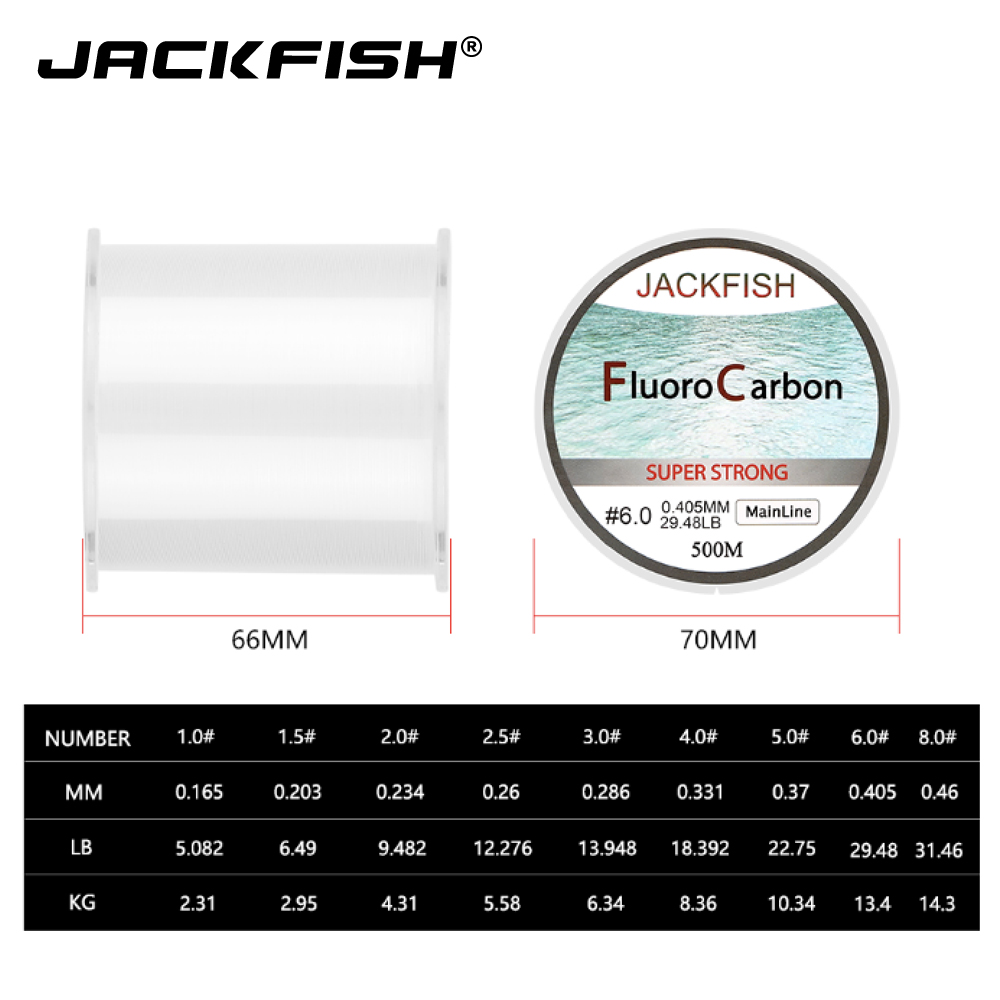 ALI shop ...  ... 32275002085 ... 2 ... JACKFISH HOT SALE 500M Fluorocarbon Fishing Line  5-32LB test Carbon Fiber Leader Line 0.165-0.46mm fly fishing line pesca ...