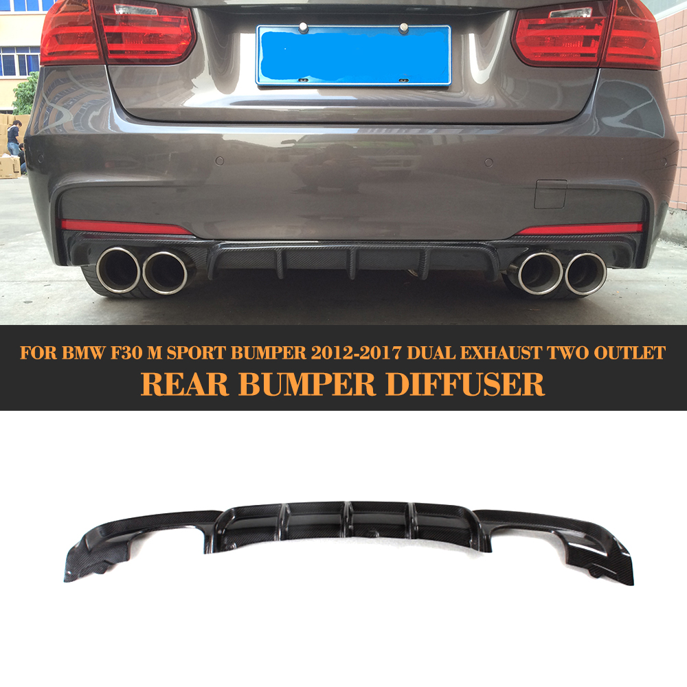Carbon Fiber Auto Rear Diffuser spoiler Lip for BMW 3 Series F30 M Sport Bumper 12-17 dual exhaust two outlet Black FRP 3 series carbon front bumper racing grill grills for bmw f30 f31 standard sport 12 16 320i 325i 330i 340i non m3 style car cover