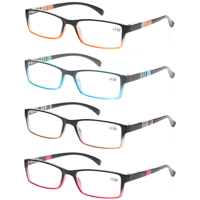 cf725308a21 Henotin 4 pack Fashion Reading Glasses Men and Women spring hinge  Lightweight Rectangular frames quality readers 0.5 1.75 2.0. Rated 4.9 5 ...