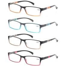 Henotin 4 pack Fashion Reading Glasses Men and Women spring hinge Lightweight Rectangular frames quality readers 0.5 1.75 2.0