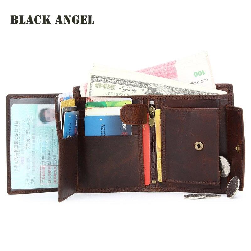 BLACK ANGEL Vintage Genuine Leather Men Wallets Cowhide Trifold Zipper  Wallet Short Vertical Design Purse Card Holder