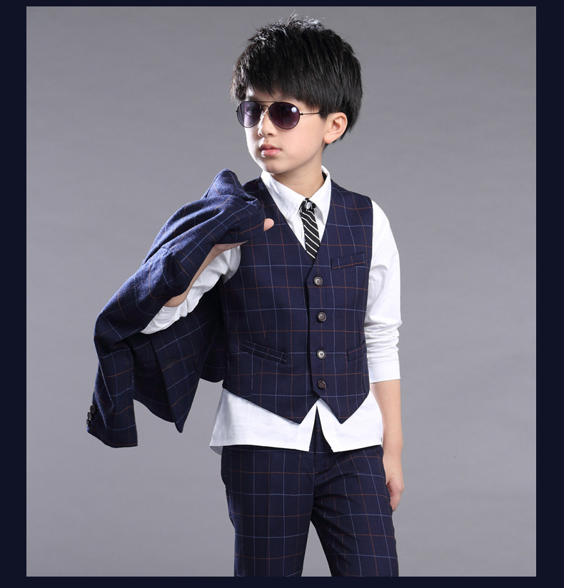 Kids Boys Clothing Suit Sets 2018 New Autumn Fashion Plaid Long Sleeve Coats Vest Pants 3pcs Suit Sets Baby Boys Clothes 6cs059