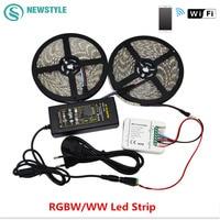 5 M 10 M RGBW/WW Led רצועת 5050 DC12V אור Led IP20 IP65 עמיד למים + WIFI בקר + אספקת חשמל שינוי צבע על ידי אנדרואיד IOS