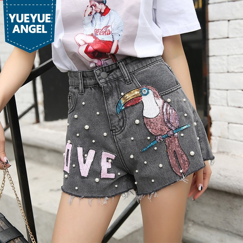 2019 Jeans Shorts Girls Summer Sequined Embroidery Beading Mini Shorts Loose Fit Vintage Short Jeans Female Streetwear Grey Blue
