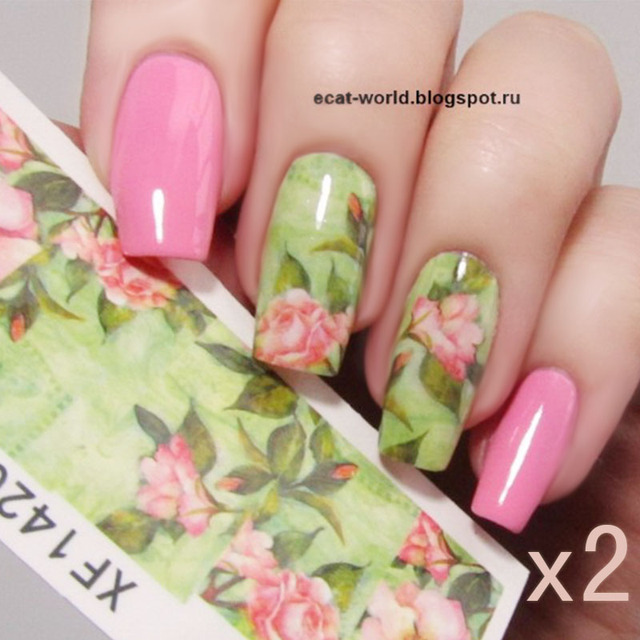 2 Sheets Nail Water Decals Chic Floral Transfer Stickers Lotus ...