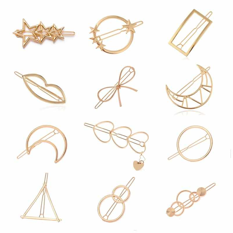 Girls Triangle Moon Hairpins Hair Clips Hairgrip Hair Accessories Lip Round Barrettes Jewelry Women Hair Pins Head Accessories