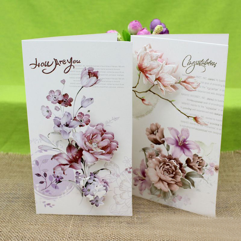 (8 Pieces/lot)Creative DIY Birthday Cards Flower Greeting