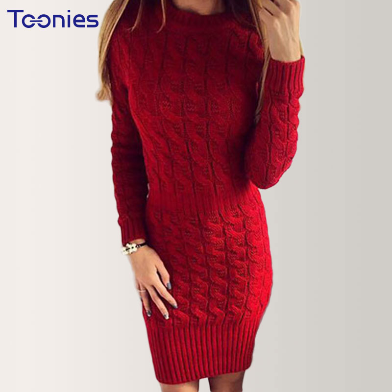 Hot Sale Knitting Knitted Sweaters Fashion O-neck Long Sleeve Sweater Dress Women Autumn Winter Clothes Solid Casual Mini Dress