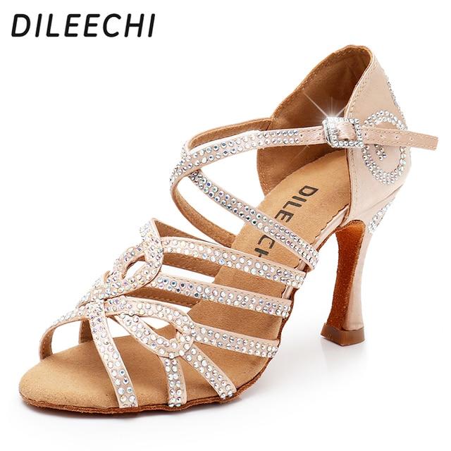 DILEECHI Latin Dance รองเท้าคู่ Rhinestone Shining ผิวซาตินสีดำผู้หญิงบอลรูมเต้นรำรองเท้าคิวบา heel 9 ซม.ใหม่