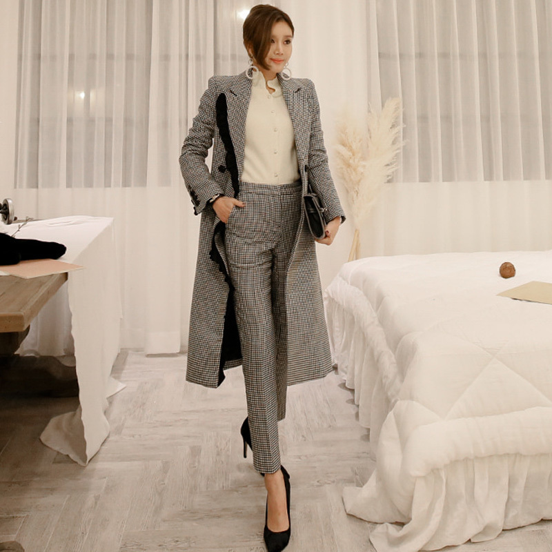 2018 Autumn Winter Elegant Winter Thick Plaid Women Pant Suits Double Breasted Long Blazer Coat Pencil Pant Fashion Female Suits