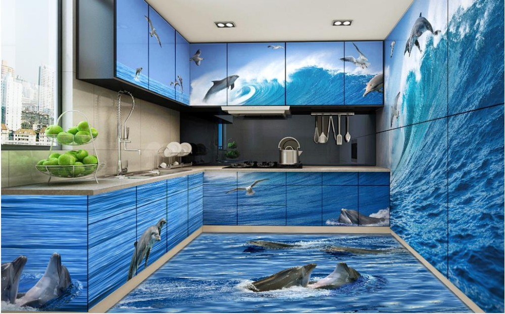 3d Stereoscopic Wallpaper Custom 3d Floor Pvc Self Adhesive Wallpaper Dolphin Wave 3d Floor
