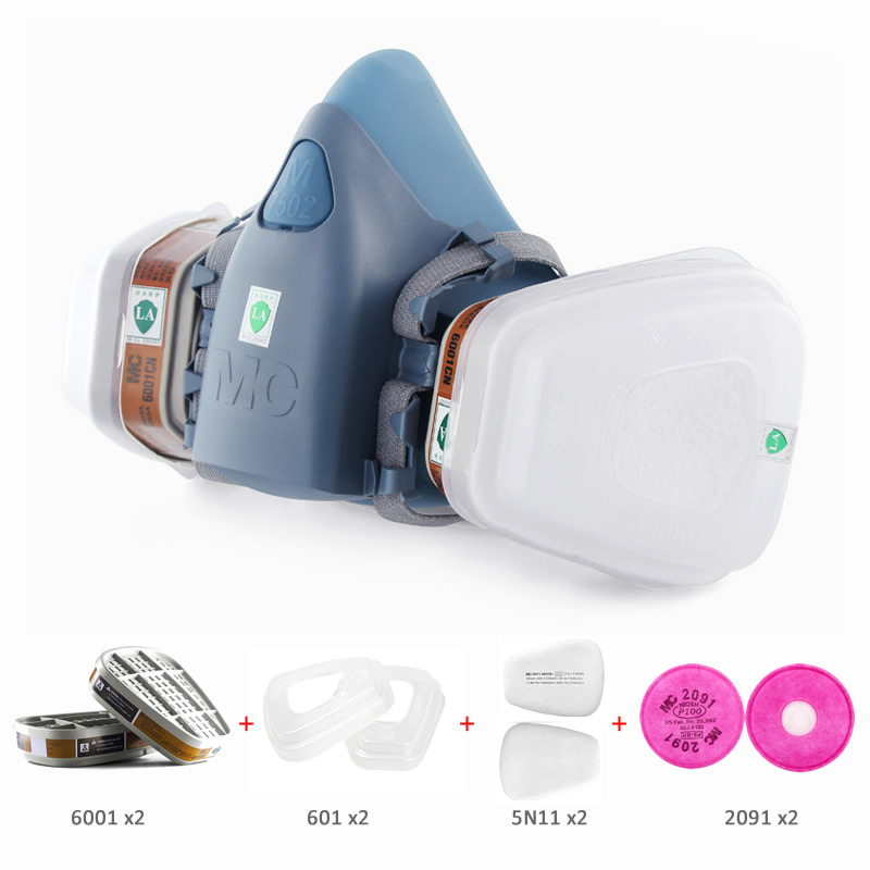 New 9-In-1 7502 Half Face Dust Mask Painting Spraying Gas Respirator Dual Filters For Industrial Work Safety House Clean Masks 9 in 1 suit gas mask half face respirator painting spraying for 3 m 7502 n95 6001cn dust gas mask respirator