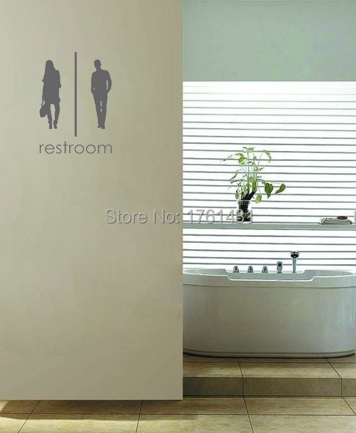 Unisex Bathroom Signs Wall Art Decals Home Decoration Adhesive Wall Paper  Wall Pictures Bathroom Wall Tile