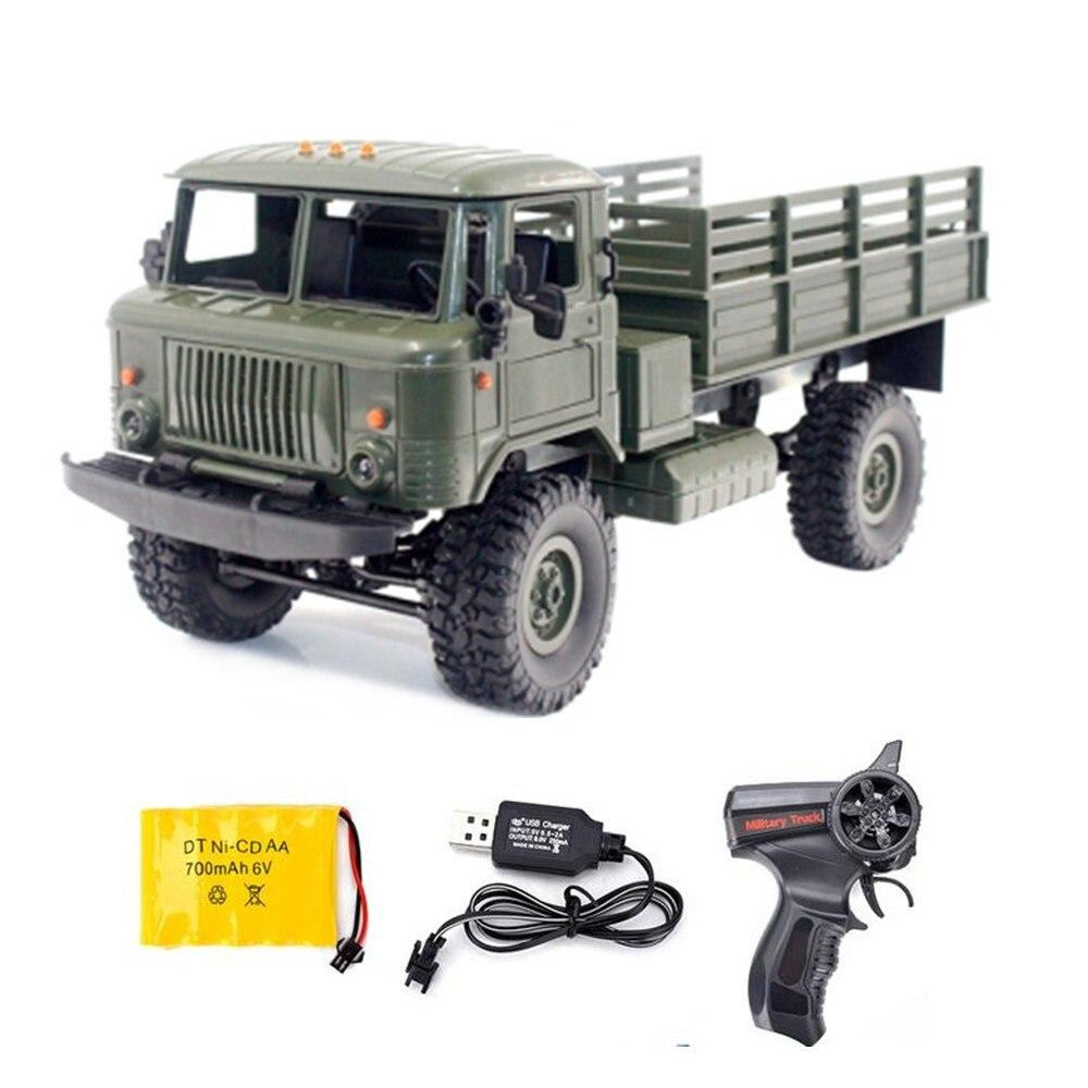 Nuevo WPL B-24 GAZ-66 RC escalada militar camión de Control remoto 2,4g 4WD Off-Road RC de juguete camión de carreras vehículos RTR, regalo de juguetes,