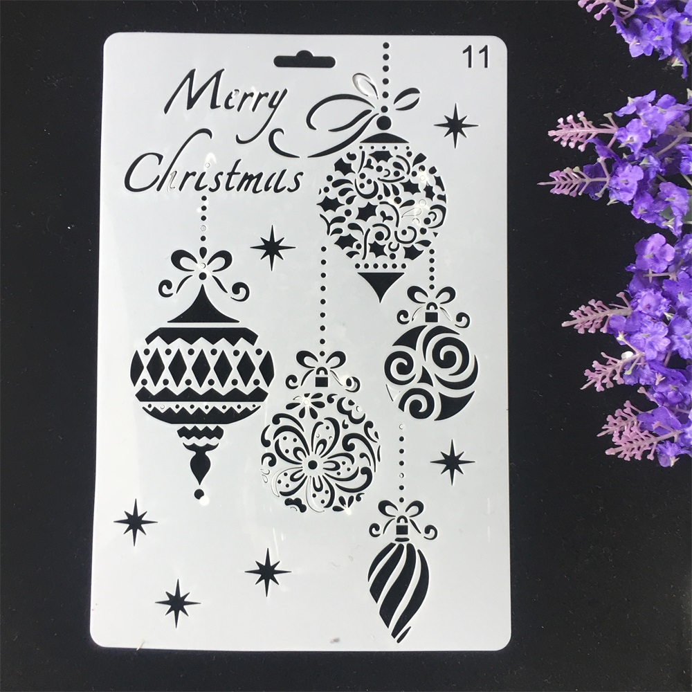 1Pcs 26cm Merry Christmas Balls DIY Craft Layering Stencils Wall Painting Scrapbooking Stamping Embossing Album Card Template