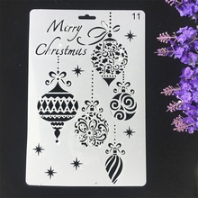 1Pcs 26cm Merry Christmas Balls DIY Craft Layering Stencils Wall Painting Scrapbooking Stamping Embossing Album Card Template merry christmas tree sticker painting stencils for diy scrapbooking stamps home decor paper card template decoration album craft
