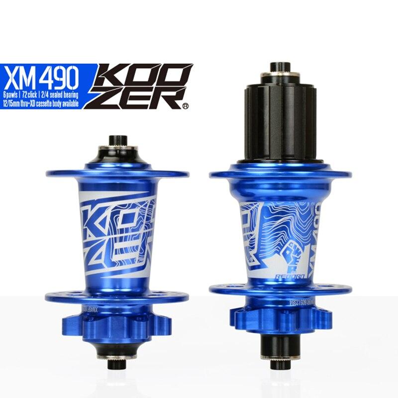 Koozer XM490 ensemble de moyeu avant arrière 2/4 roulements 32 trous dégagement rapide à travers l'essieu ultra-léger 640 g/paire 120 moyeux de VTT clic - 4