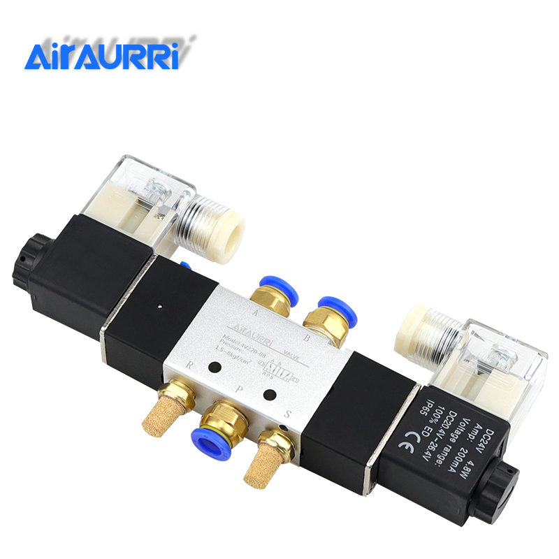 Woljay Pneumatic Double Solenoid Air Valve 4V320-08 AC 24V PT 1//4 2 Position 5