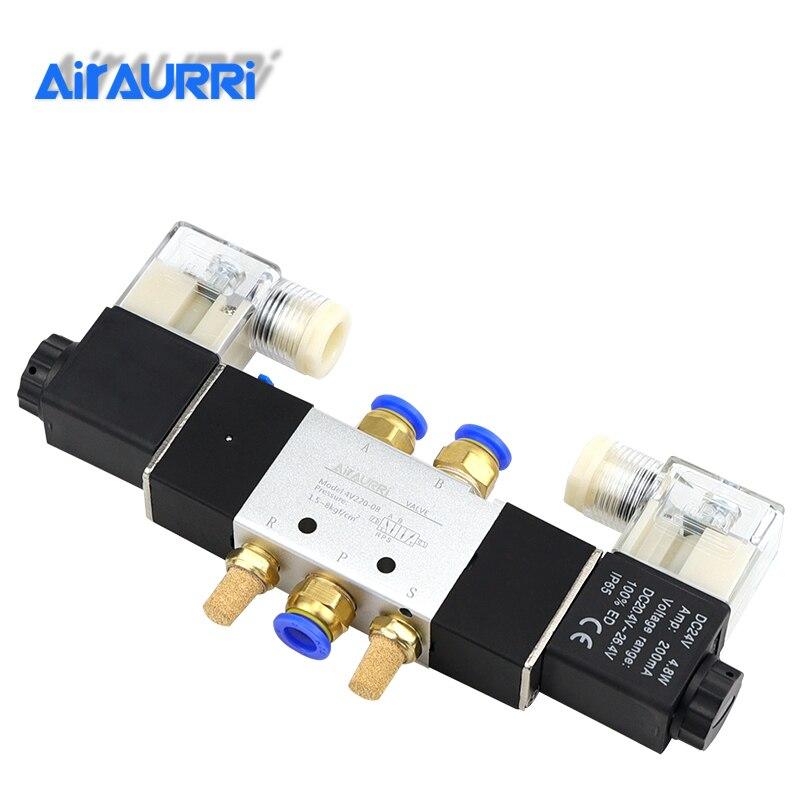 "4V220-08  Air Pneumatic Solenoid Valve 5 Way 2 Position 1/4"" Aluminum Alloy Internal E DC12V,DC24V Or AC110V AC220V"