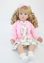 60cm silikonski vinilni rojeni otroške lutke igrače 24-palčna roza obleka princesa malček dekleta dojenčki lutke otrok rojstni dan darilo igra hiša igrača