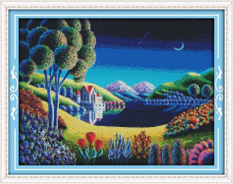 ⑤Nuevo paisaje fantástico (1) algodón DMC casa decoración Cruz ...